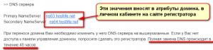 DNS сервера хостинга для сайта