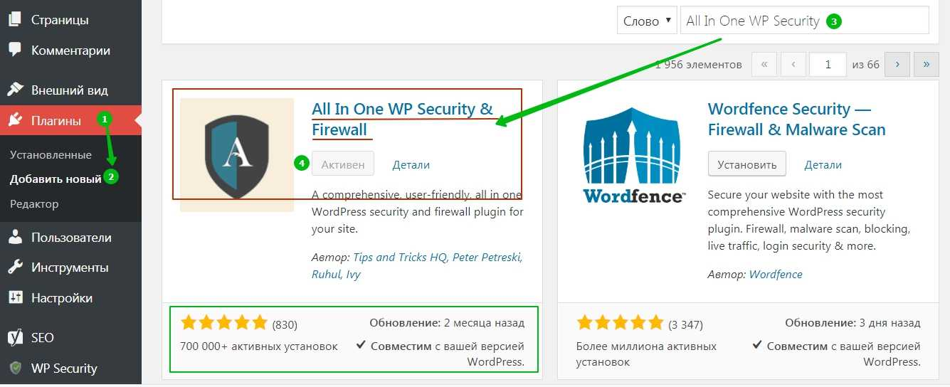Плагин All In One WP Security