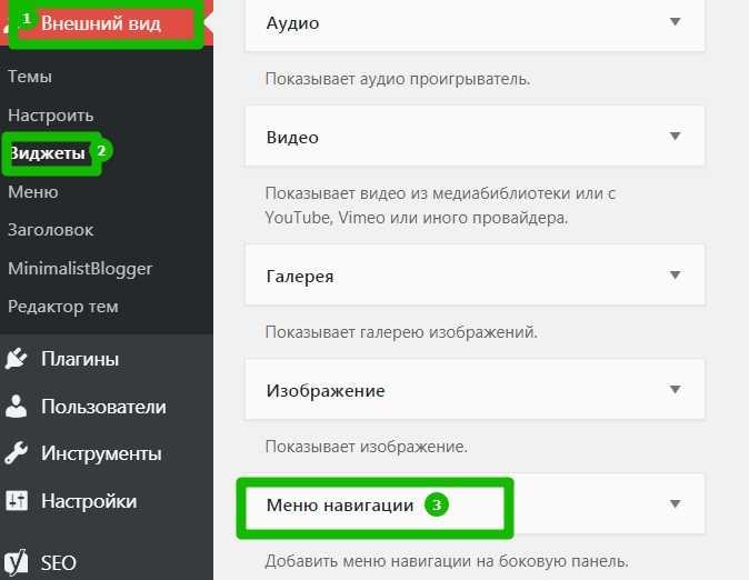 Виджеты - область навигации по сайту