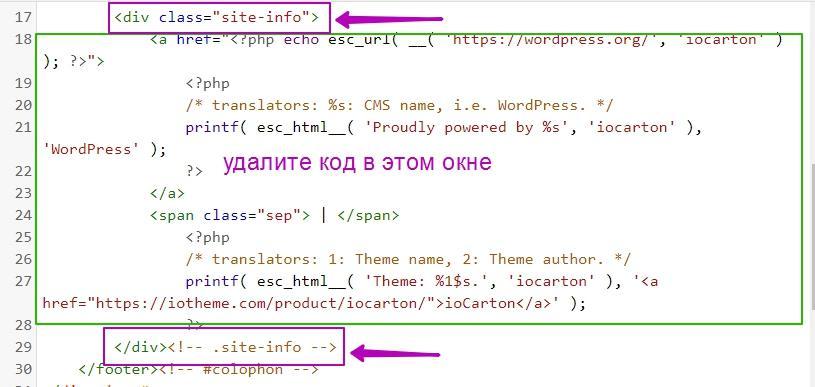 Редактирование кода в файле footer.php
