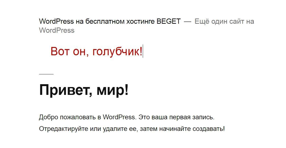 Сайт на wordpress на бесплатном хостинге Бегет