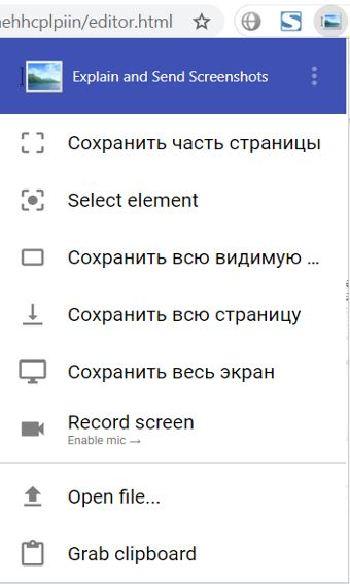 Опции Меню плагина для создания скриншота с прокруткой или без