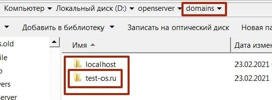 В domeins находятся папки с сайтами и localhost
