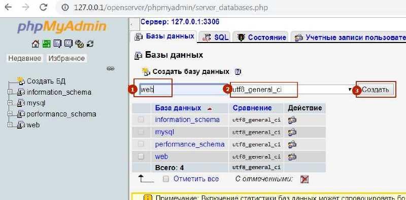 Настройка Базы Данных phpMyAdmin в OpenServer
