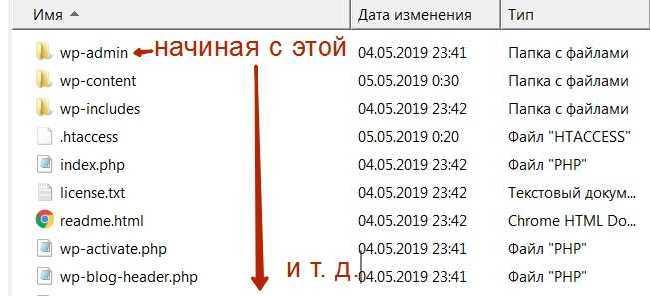 Загрузка файлов wp в папку сайта